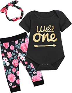 Baby Girls One Year Old Wild One Outfit Set Floral Layette Sets