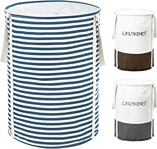 ZERO JET LAG 19 in Collapsible Laundry Hamper with Handles Drawstring Round Cotton Basket Kids Nursery Hamper Storage(Blue Strips)