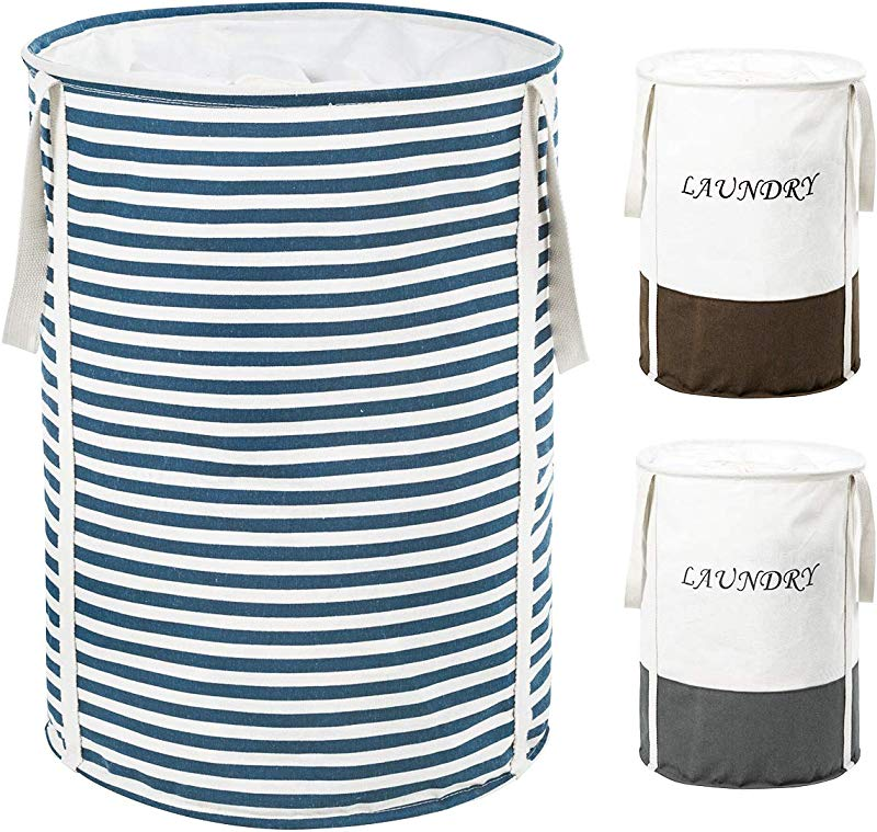 ZERO JET LAG 19 Inches Thickened Laundry Hamper With Extended Handles Round Laundry Basket Kids Nursery Hamper Cotton Linen Collapsible Storage Drawstring Blue Strips