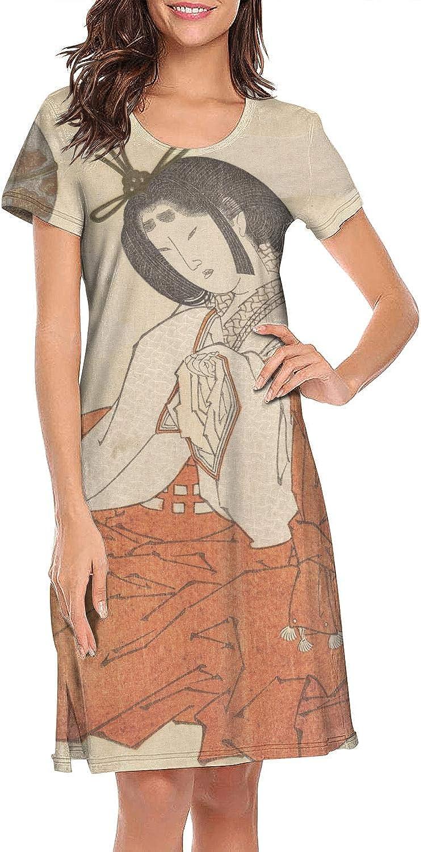 ZWEN Women's Japanese Ukiyo Art Nightgown Lightweight Night Dress Fashion Pajamas