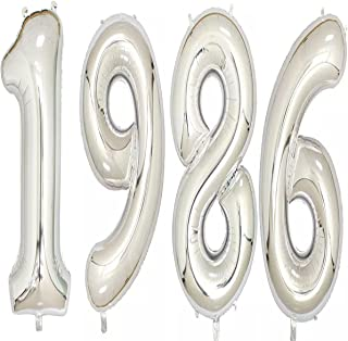 1986 Balloons 40 Inch Silver Giant Jumbo Helium Foil Mylar Balloons for 32th Birthday Party Decoration