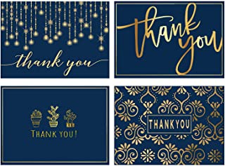 100 Gold Thank You Cards Bulk, Navy Blue Gold Foil Thank U Greeting Cards with Envelopes, Blank Thank You Notes 4 x 6, Perfect for Business, Wedding, Graduation, Baby Shower, Baptism, Bridal Shower.