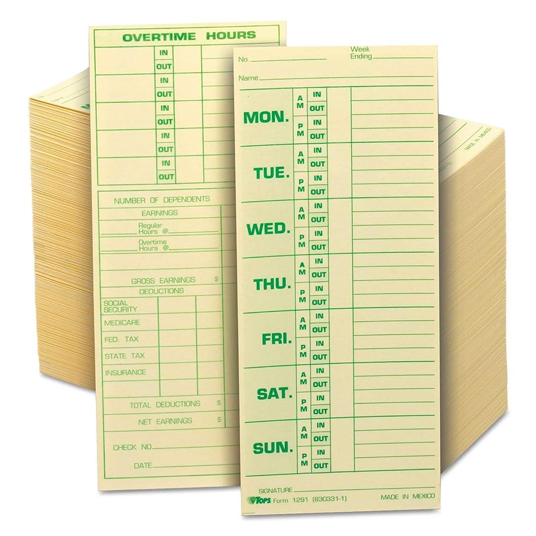 アパル組み合わせお客様時間カードforピラミッドモデル331?–?10、週単位、両面、3?1?/ 2?x 8?1?/ 2、500?/ボックス 1-Pack
