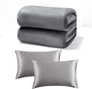 Bedsure Soft Flannel Fleece Blanket and Smooth Stain Pillowcase
