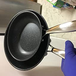 PFOA Free 8 and 10 Inches Induction Compatible Bottom and Ergonomic Heat Insulation Handles homgeek Frying Pan Set Nonstick Skillet Made of 410 Stainless Steel with Professional Nonstick Coating