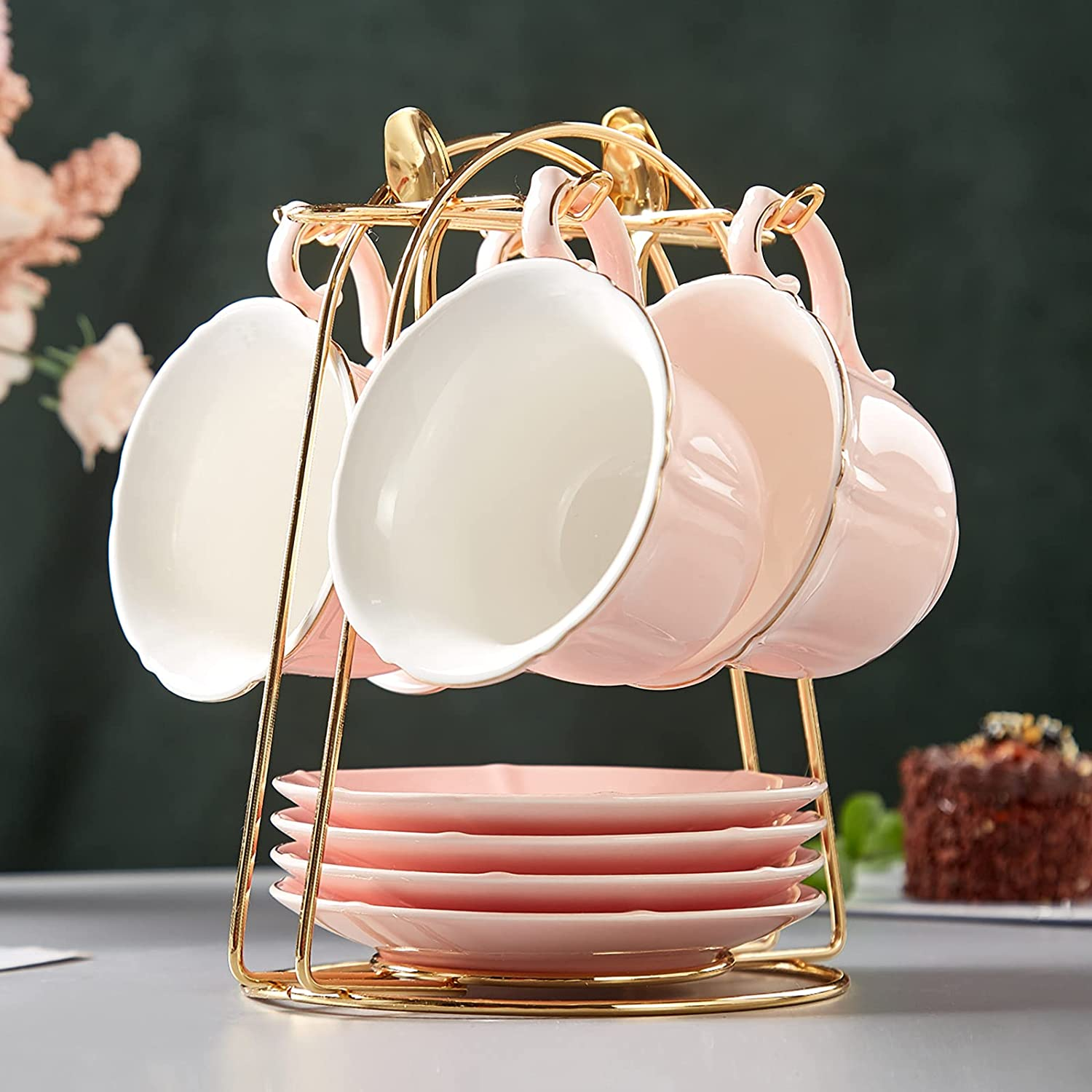 DUJUST Tea Super popular specialty store Cups and Saucers Set of Candy Cup 8 Latest item Pink 4 OZ