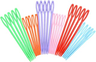 30 Pieces Colorful Large Eye Plastic Sewing Needles for kid Weave Education