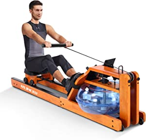 RUNOW Rowing Machines for Home Use Water Resistance Wood Rower Machine with LCD Monitor Strength Training Equipment Exercise Workout Sports Fitness