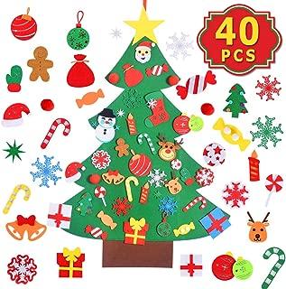Max Fun DIY Felt Christmas Tree Set with 40PCS Ornaments Wall Hanging Felt Craft Kits for Kids Christmas, New Year, Various Festivals Decorations