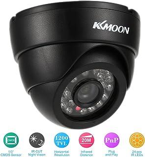 KKmoon HD 1200TVL Cámara de Vigilancia en Domo 1/3¡± CMOS IR-Cut CCTV Sistema de Seguridad Indoor Visión Nocturna PAL Color Blanco/Negro