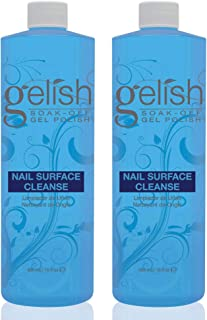 Gelish Nail Soak Off Surface Gel UV Top Coat Cleanser Bottle, 16 Fl Oz (2 Pack)