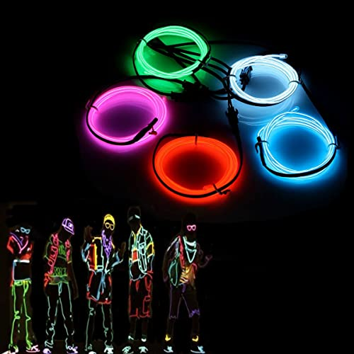 El Wires,AUDEW 5x1M Neon Lights Glowing Strobing Dance Party Costume Decor Light Flexible EL Rope Neon Sign Waterproof LED Strip With Controller Indoor/Outdoor Decorations