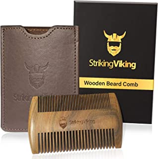 Striking Viking Wooden Beard Comb for Men w/Case - Natural Sandal Wood Comb for Beard Hair and Mustache - Pocket Sized & Anti-Static w/Fine & Coarse Teeth (Brown Case)