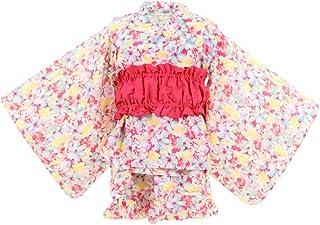 浴衣 子供 女の子 3点セット ワンピース 帯セット ベビー キッズ【342442209-10】120cm ピンク(水彩花柄)
