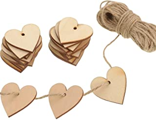 Outus 100 Pièces Embellissement Vierge en Form de Coeur en Bois 40 mm avec 10 m Ficelle Naturelle pour Le Mariage Bricolag...