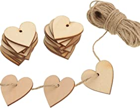 100 Piezas Corazón de Madera Adornos de Crazón de Madera en Blanco 40 mm con 10 m Cordel Natural para Manualidades Artesanías DIY de Boda Elaboración de Tarjeta de Día de San Valentín