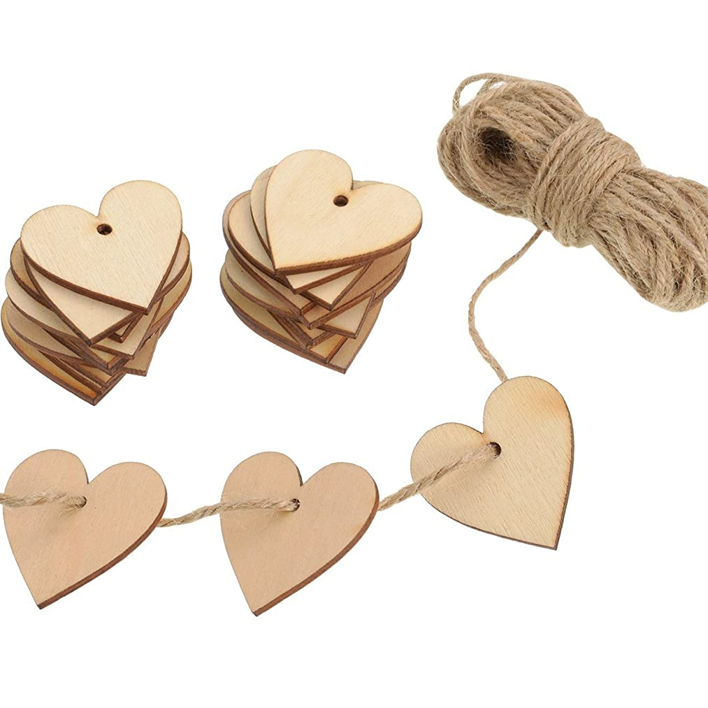 Outus 100 Pieces Wood Heart Blank Wooden Heart Embellishments 40 mm with 10 m Natural Twine for Wedding DIY Arts Crafts Card Making Valentine Decoration