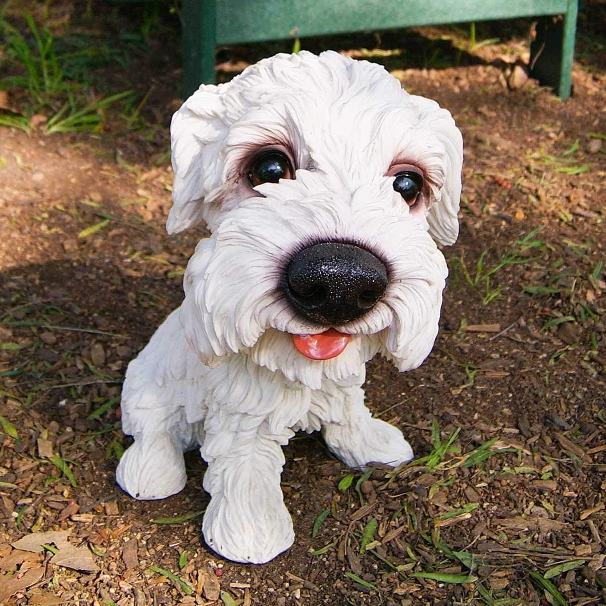 Alpine Corporation White Puppy with Big Head 1 year warranty Inch 14 Super intense SALE Tal Statue