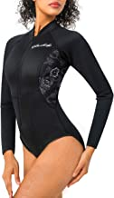 CtriLady Women Neoprene Wetsuit, Long Sleeve Swimsuit with Front Zipper UV Protection Swimwear for Swimming Diving Snorkeling