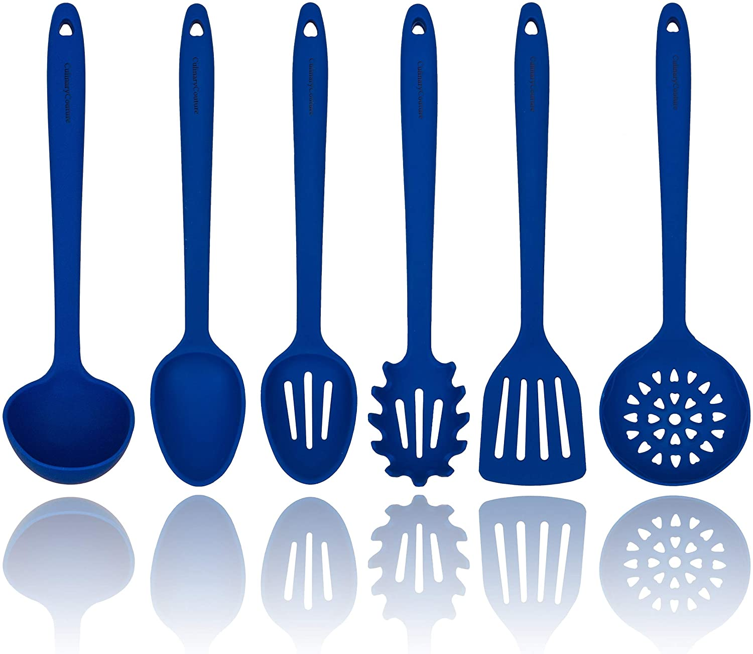 Amazon Com Blue Silicone Cooking Utensils Set Sturdy Steel Inner Core Spatula Mixing Slotted Spoon Ladle Pasta Server Drainer Heat Resistant Kitchen Tools Bonus Recipe Ebook Kitchen Dining