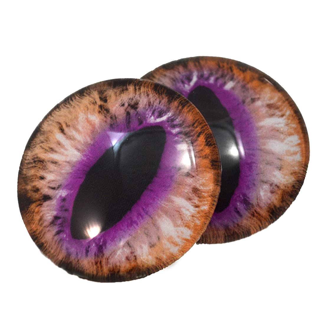 40mm LArge Glass Brown and Purple Cat or Fairy Tale Dragon Eyes Cabochons for Fantasy Art Doll Taxidermy Sculptures or Jewelry Making Crafts Set of 2