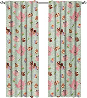 shenglv Retro, Blackout Curtains Kids, Retro Style Tea Cups Royal Themed British Tea Time Inspired Image Abstract Backdrop, Curtains Kids Bedroom, W108 x L108 Inch, Multicolor