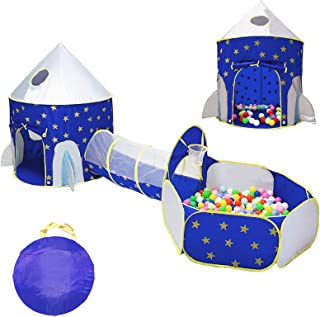 LOJETON 3pc Rocket Ship Kids Play Tent, Tunnel & Ball Pit with Basketball Hoop for Boys, Girls and Toddlers - Indoor/Outdo...