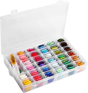 Embroidery Floss with Organizer Storage Box - 96 Colors Friendship Bracelets String Embroidery Thread with Number Stickers and Plastic Floss Bobbins - Rainbow Cross Stitch Kits