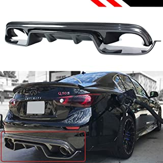 Fits for 2014-2017 Infiniti Q50 VRD 2 Pieces Style Carbon Fiber Rear Bumper Diffuser Undertray Kit