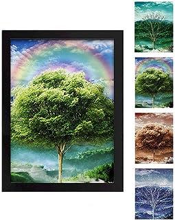ملصق جداري ثلاثي الأبعاد لشجرة الفصول الأربعة، طباعة مؤطرة | 11.88 × 15.7 بوصة | مشهد طبيعي جميل لتغيير فصول السنة الأربعة...