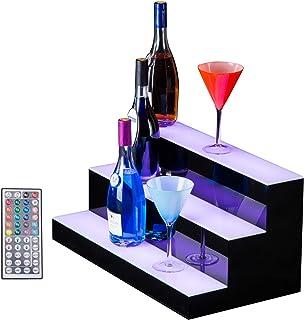 SUNCOO 24 Inch 3 Step LED Lighted Liquor Bottle Display Illuminated Bottle Shelf 3 Tier Home Bar Drinks Lighting Shelves w...