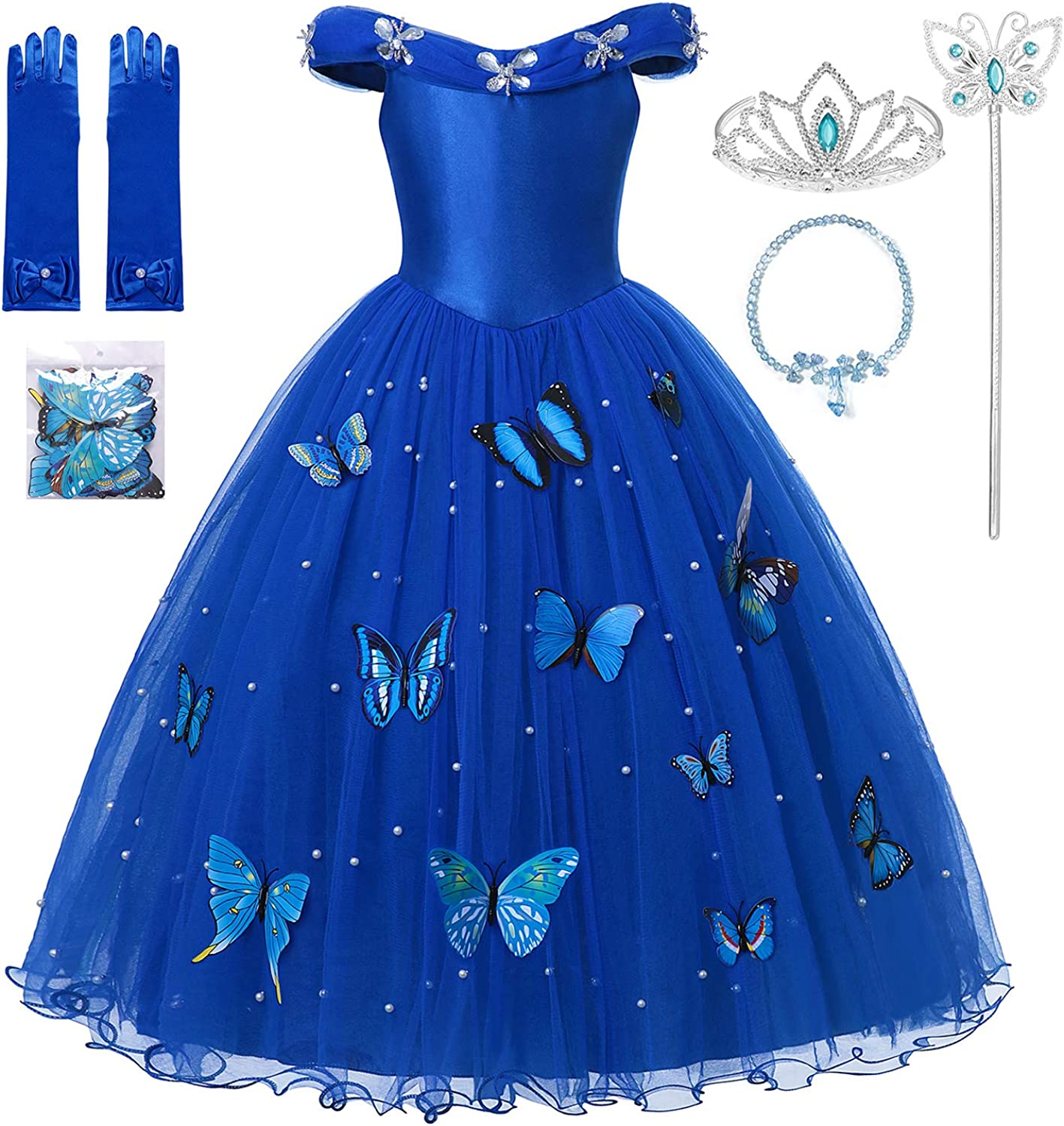 MUABABY Girls Princess Pageant Ball Gowns Kids Tulle Flower Girls Dresses  with Accessories Sets