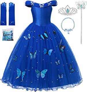 Girls Cinderella Princess Pageant Ball Gowns Kids Tulle Flower Girls Dresses with Accessories Sets