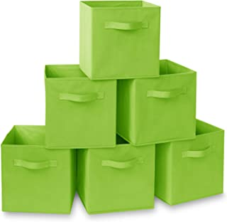 Casafield Set of 6 Collapsible Fabric Cube Storage Bins, Lime Green - 11