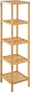 TecTake Étagère Debout Salle de Bain Bois de Bambou - diverses modèles - (5 Niveaux | 33x33x141 cm | No. 401646)