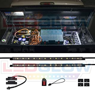 """LEDGlow 2pc White Truck Tool Box LED Lighting Kit for Work & Utility Trucks - Universal - 12"""" Tubes Install to Lid & Shine Down on Tools - Includes Magnetic Power Switch for Auto On/Off"""