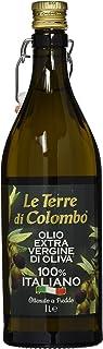 Le Terre di Colombo – Aceite de oliva virgen extra 100% italiano, botella con estrías y tapón mecánico, 1 L