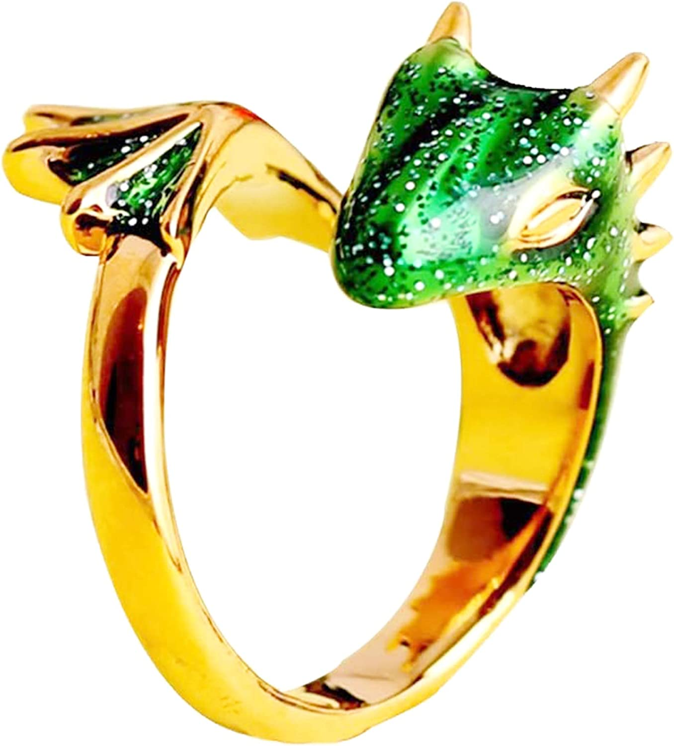 2021 New Gold Topaz Dragon Ring Lucky Fingere Pet, Free-size (adjustable band)