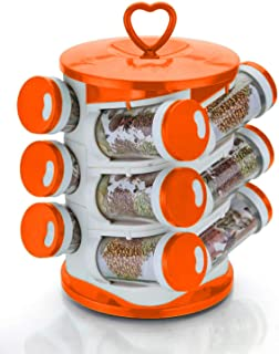 Kuber Industries Multipurpose Revolving Plastic Spice Rack 12 Pieces Masala Box/Condiment Set/Masala Boxes for Kitchen (Or...