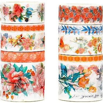 Warm Tone Yubbaex 10 Rolls Spring Flowers Washi Tape Set Masking Decorative Tapes
