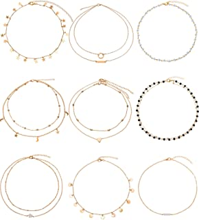 Bbto 9 Pieces Gold Layering Chain Choker