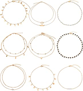 BBTO 9 Pieces Gold Layering Chain Choker Necklace Layered Pendant Statement Necklace for Women Girls (Style A)