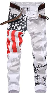 American Flag Printed Men's Jeans Stretch Straight Fit White Jeans Pants for Men
