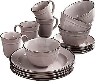 Elle Décor 6924-16GR-RB Lucienne Casual Round Dinnerware Set – 16-Piece Stoneware Party Collection w/ 4 Dinner Salad Plates, 4 Bowls & 4 Mugs-Unique Gift Idea, 10.75