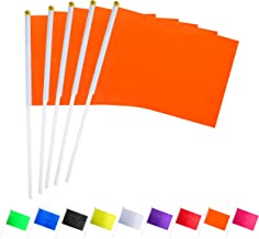 Consummate 25 Pack Solid Orange Flag Small Mini Plain Orange DIY Flags On Stick,Party Decorations for Parades,Grand Opening,Kids Birthday,Party Events Celebration
