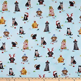Kaufman Holly Jolly Christmas Digital Dogs Holiday Fabric