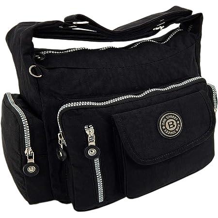 ekavale Wasserabwesende hochwertige leichtgewichte Damen-Handtasche Umhängetasche aus Crinkle Nylon (Schwarz)