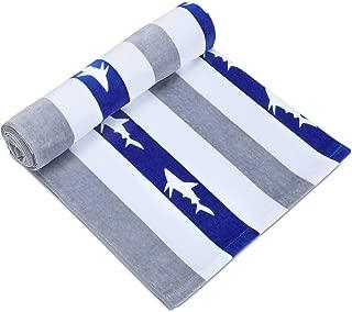 Quick Dry Fun USA Cotton Oversized Beach Towel - Print Sandproof Striped 32 x 64inch Pool Towel, Big Gray Extra Large Summer Kids Cabana Swim Towel (1 Pack)
