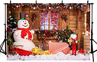 MEHOFOTO 8x6ft Splendid Merry Christmas Party Banner Holiday Winter Photo Studio Backdrop Snow Man Christmas Bells Wood Backgrounds for Photography