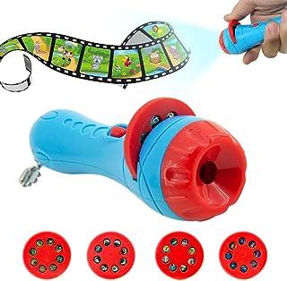 Ruier-tong 子供知育玩具 ミニプロジェクター 寝かしつけ用おもちゃ 懐中電灯様式 LED搭載 天井いっぱい おやすみホームシアター 3歳以上 子供おもちゃ 贈り物にもお勧め (4枚フィルム ブルー)